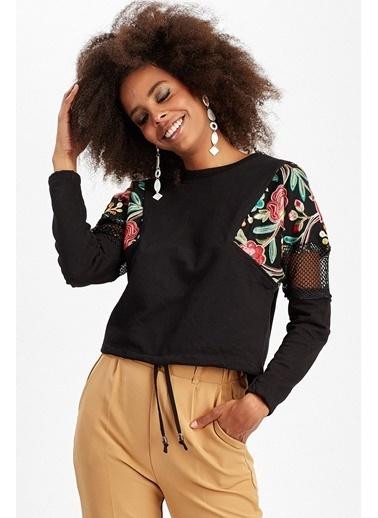 Manche Sweatshirt Siyah